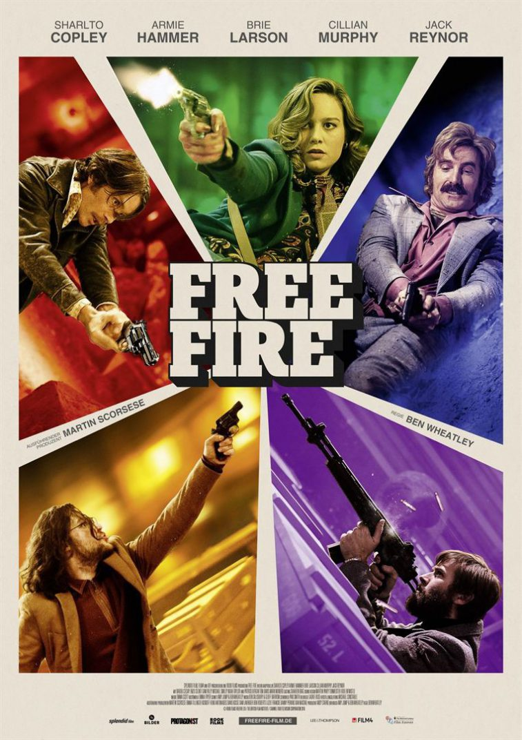 Free Fire Movie Poster Ben Wheatley, Brie Larson, Armie Hammer, Sharlto Copley,
