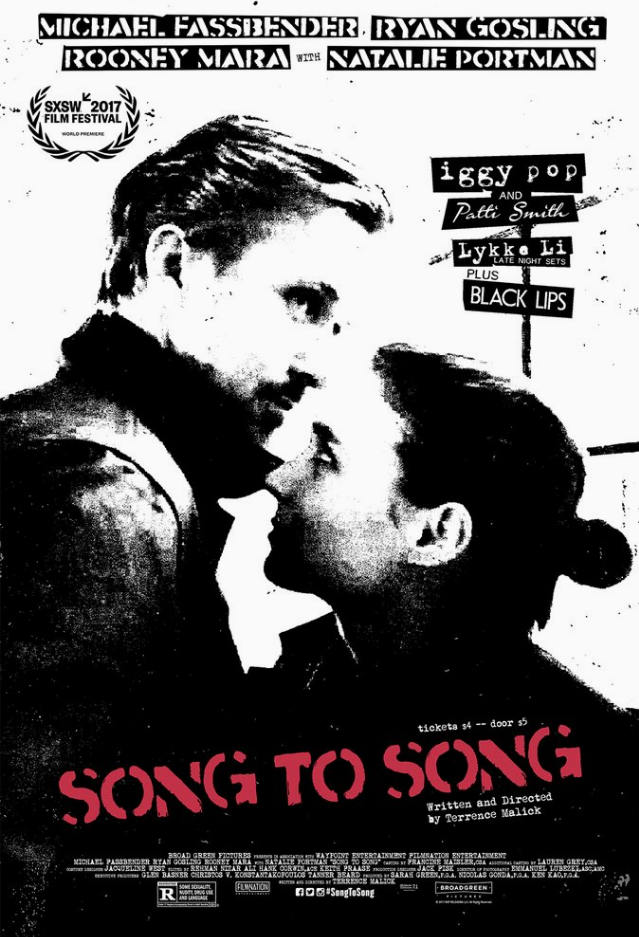 Song to Song Movie Rooney Mara Move Poster Ryan Gosling