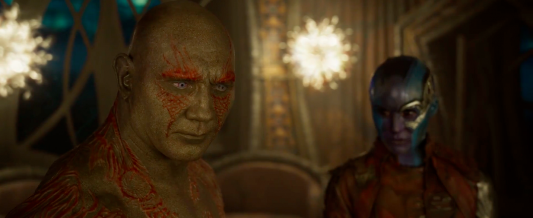Guardians of the Galaxy Vol. 2 Trailer Screencaps Karen Gillan Nebula Drax