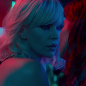 Atomic Blonde Movie Charlize Theron Sofia Boutella Kiss Makeout pics images stills
