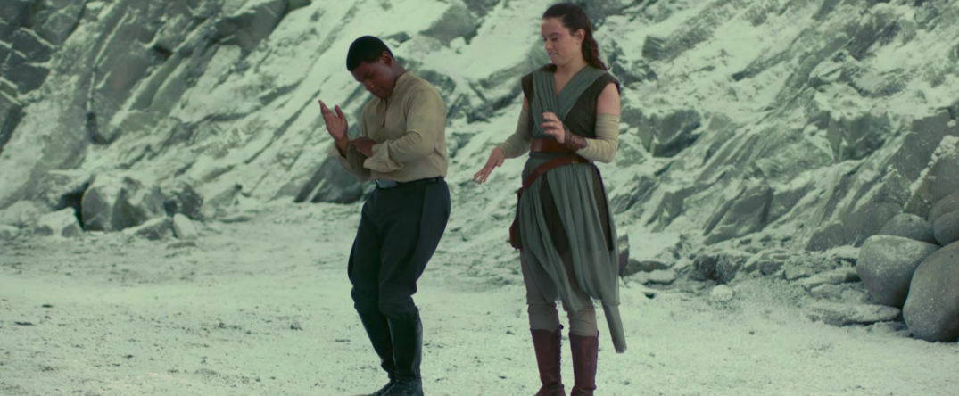 Star Wars The Last Jedi Movie Trailer Stills Behind the Scenes Screecaps Screenshots Finn Rey Dancing