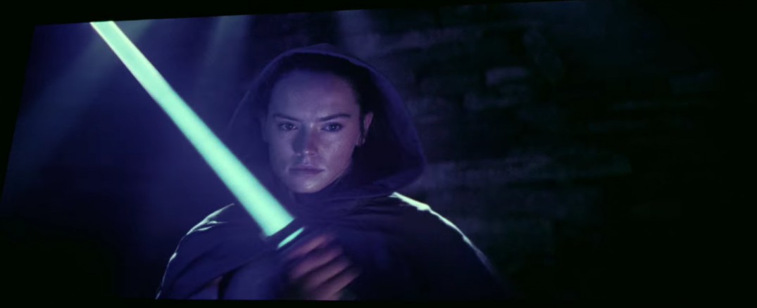 Star Wars The Last Jedi Movie Trailer Stills Behind the Scenes Screecaps Screenshots Rey Lightsaber